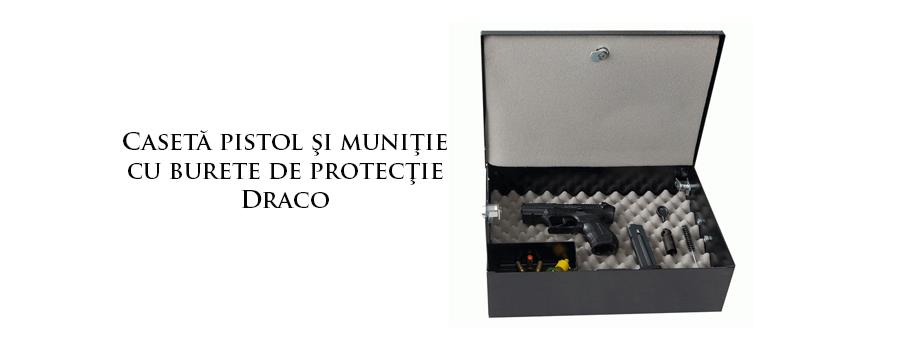 Casetă pistol şi muniţie cu burete de protecţie