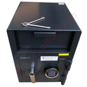 Casa de bani tip seif cu fanta cu cheie sau blocare electronica Omega Deposit CHUBB 17