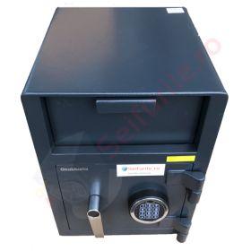 Casa de bani tip seif cu fanta cu cheie sau blocare electronica Omega Deposit CHUBB 18