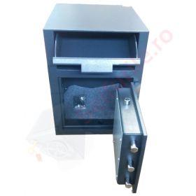 Casa de bani tip seif cu fanta cu cheie sau blocare electronica Omega Deposit CHUBB 2