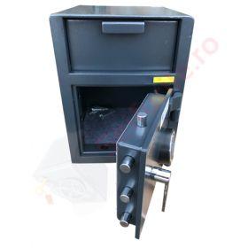 Casa de bani tip seif cu fanta cu cheie sau blocare electronica Omega Deposit CHUBB 20