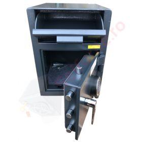 Casa de bani tip seif cu fanta cu cheie sau blocare electronica Omega Deposit CHUBB 21