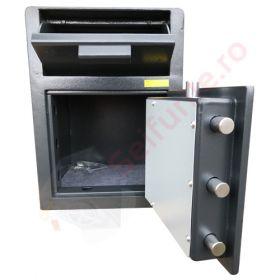 Casa de bani tip seif cu fanta cu cheie sau blocare electronica Omega Deposit CHUBB 24