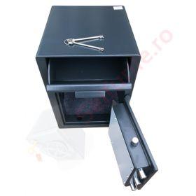 Casa de bani tip seif cu fanta cu cheie sau blocare electronica Omega Deposit CHUBB 25