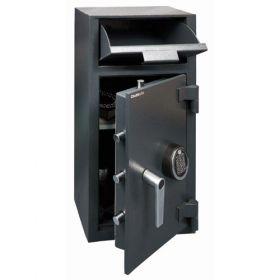 Casa de bani tip seif cu fanta cu cheie sau blocare electronica Omega Deposit CHUBB 12