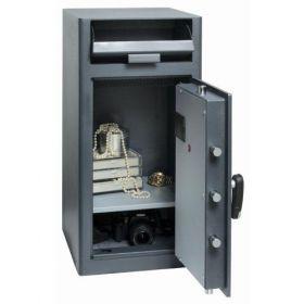 Casa de bani tip seif cu fanta cu cheie sau blocare electronica Omega Deposit CHUBB 15