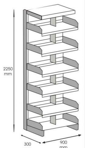 Rafturi metalice de biblioteca cu 6 polite Chilodus